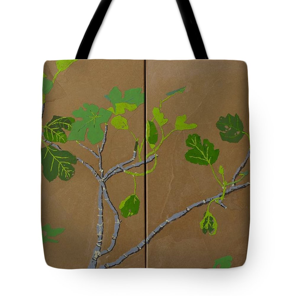 Collage Tote Bag featuring the painting Figless Figs by Leah Tomaino