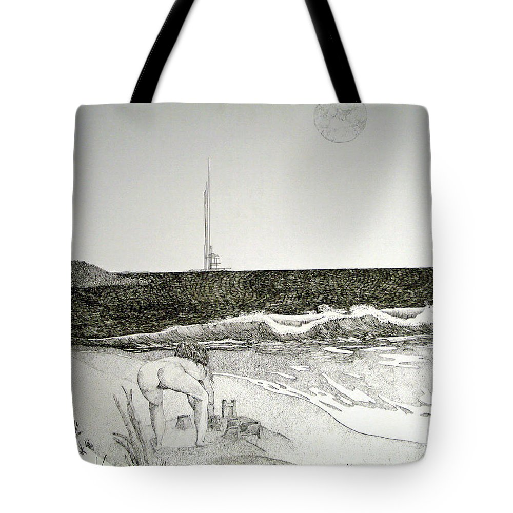 Landscape Tote Bag featuring the painting First the Sand... by A Robert Malcom