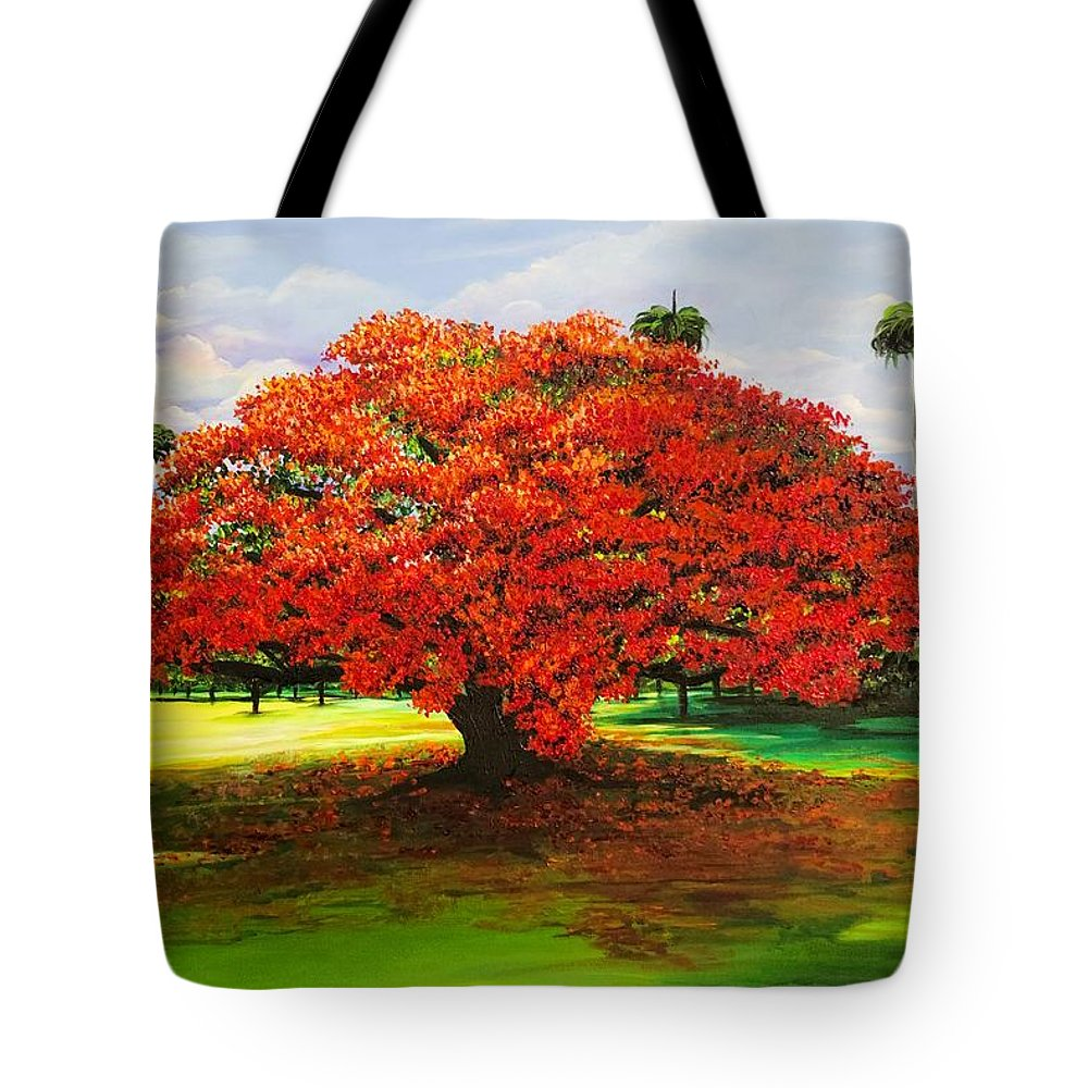 Flamboyant Tree Tote Bag featuring the painting Flamboyant Ablaze by Karin Dawn Kelshall- Best