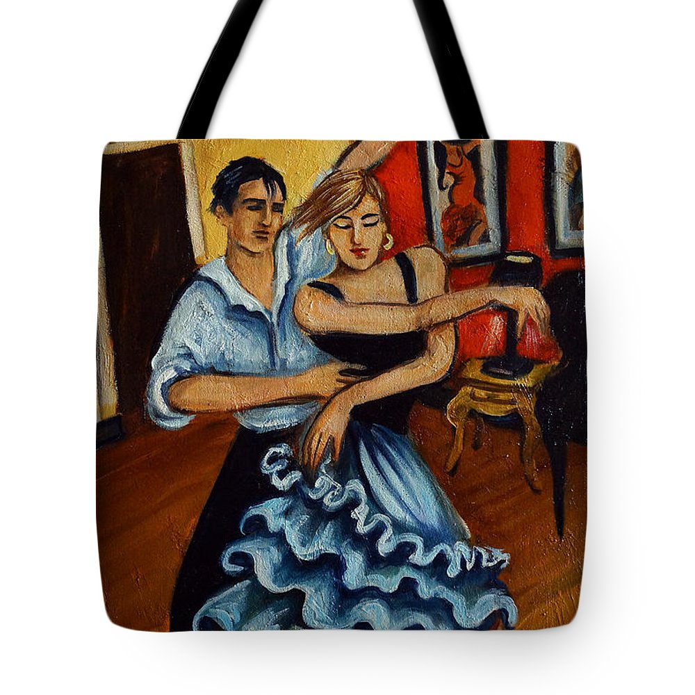 Dancers Tote Bag featuring the painting Flamenco by Valerie Vescovi