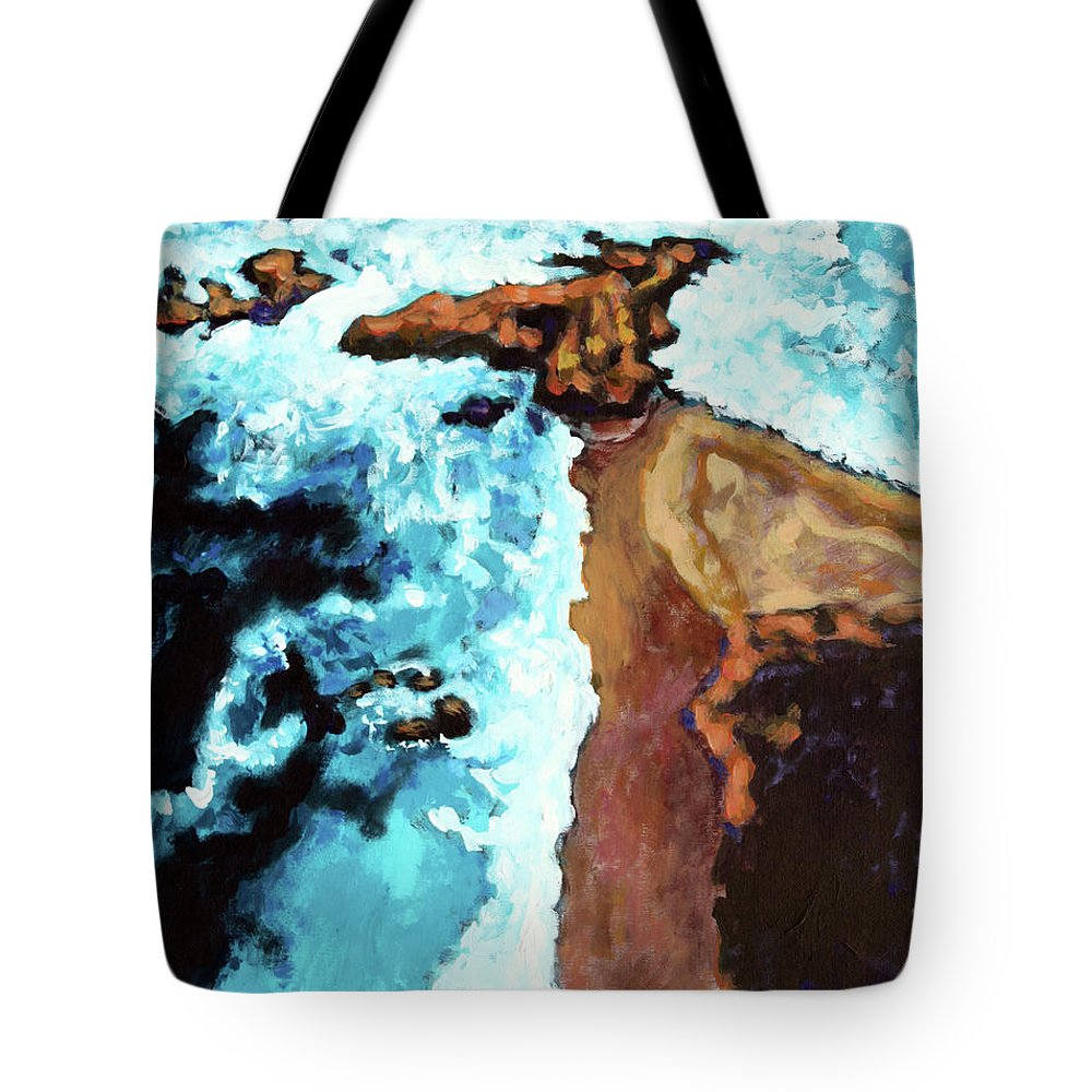 Ocean Tote Bag featuring the painting Flight Over Ocean by John Lautermilch