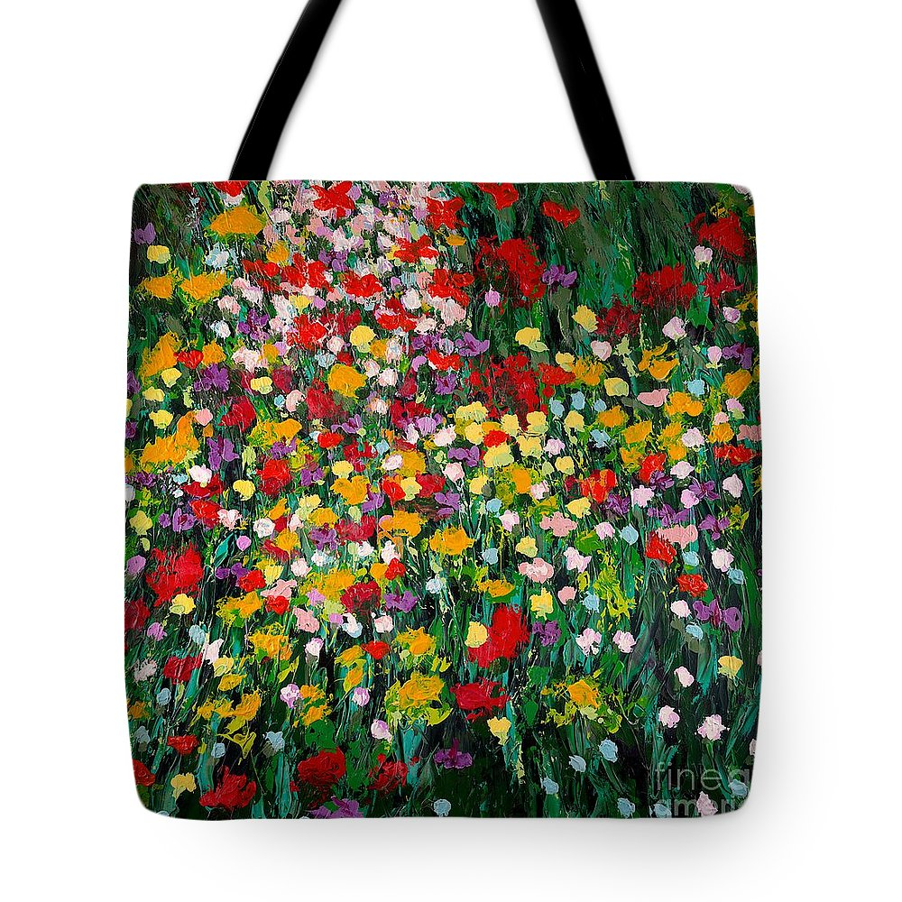 Landscape Tote Bag featuring the painting Floral Eruption by Allan P Friedlander