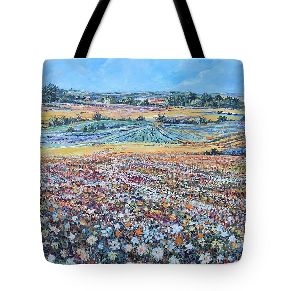 Flower Tote Bag featuring the painting Flower Field by Sinisa Saratlic