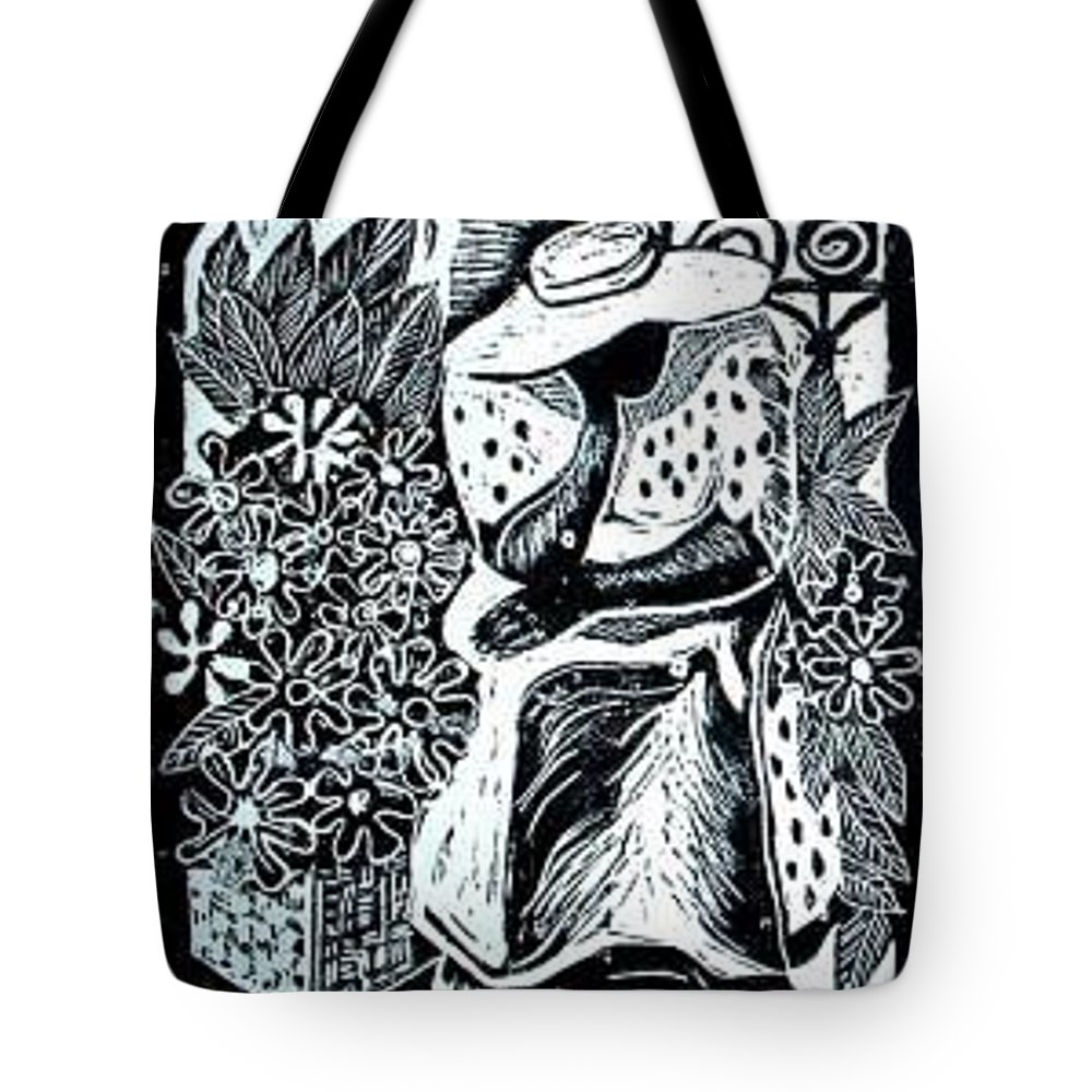 Everett Spruill Tote Bag featuring the painting Flower Vendor by Everett Spruill