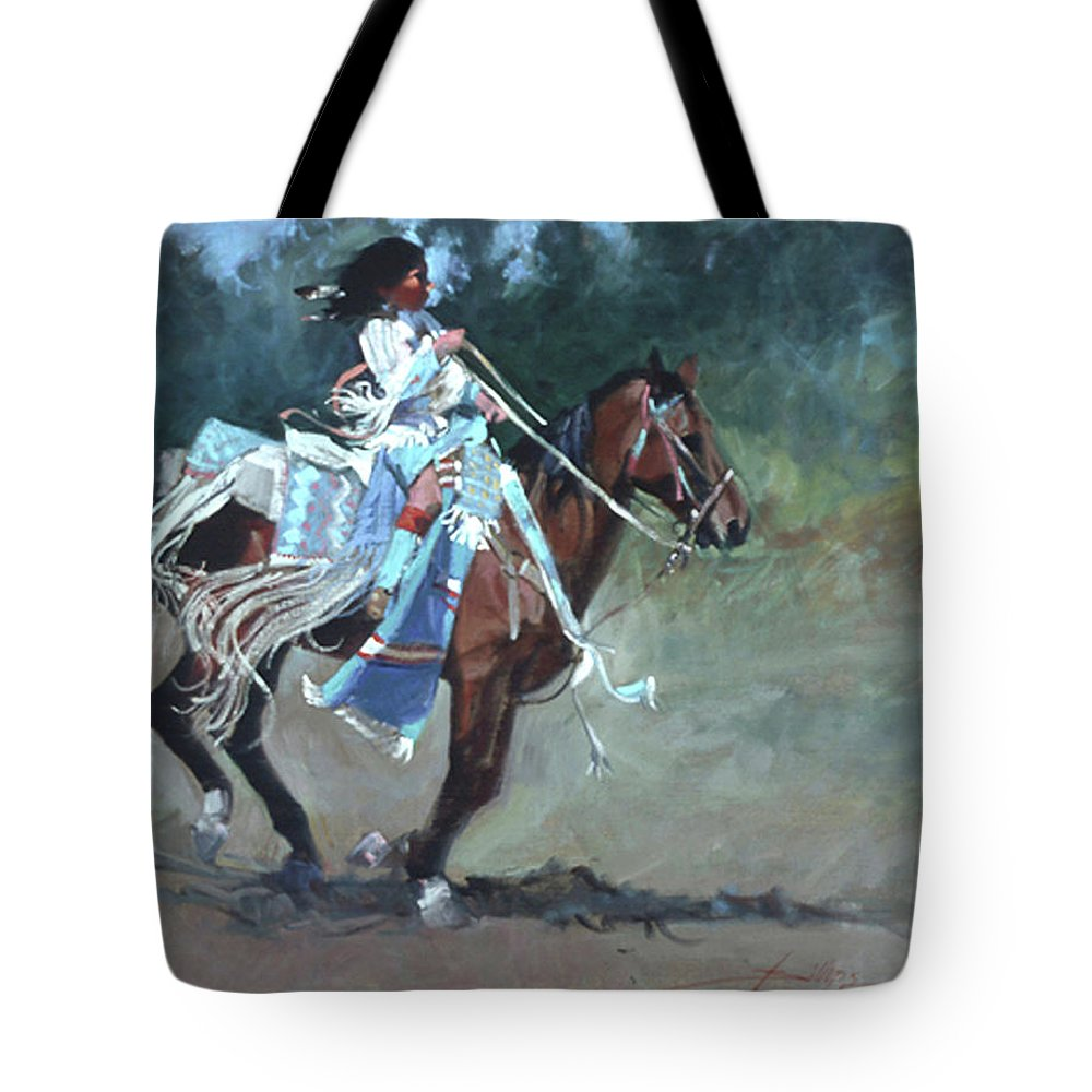 Native American Tote Bag featuring the painting Foot Loose by Betty Jean Billups