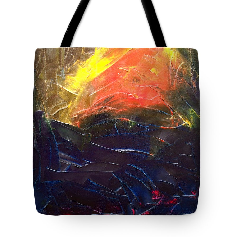 Duck Tote Bag featuring the painting Forest .Part1 by Sergey Bezhinets