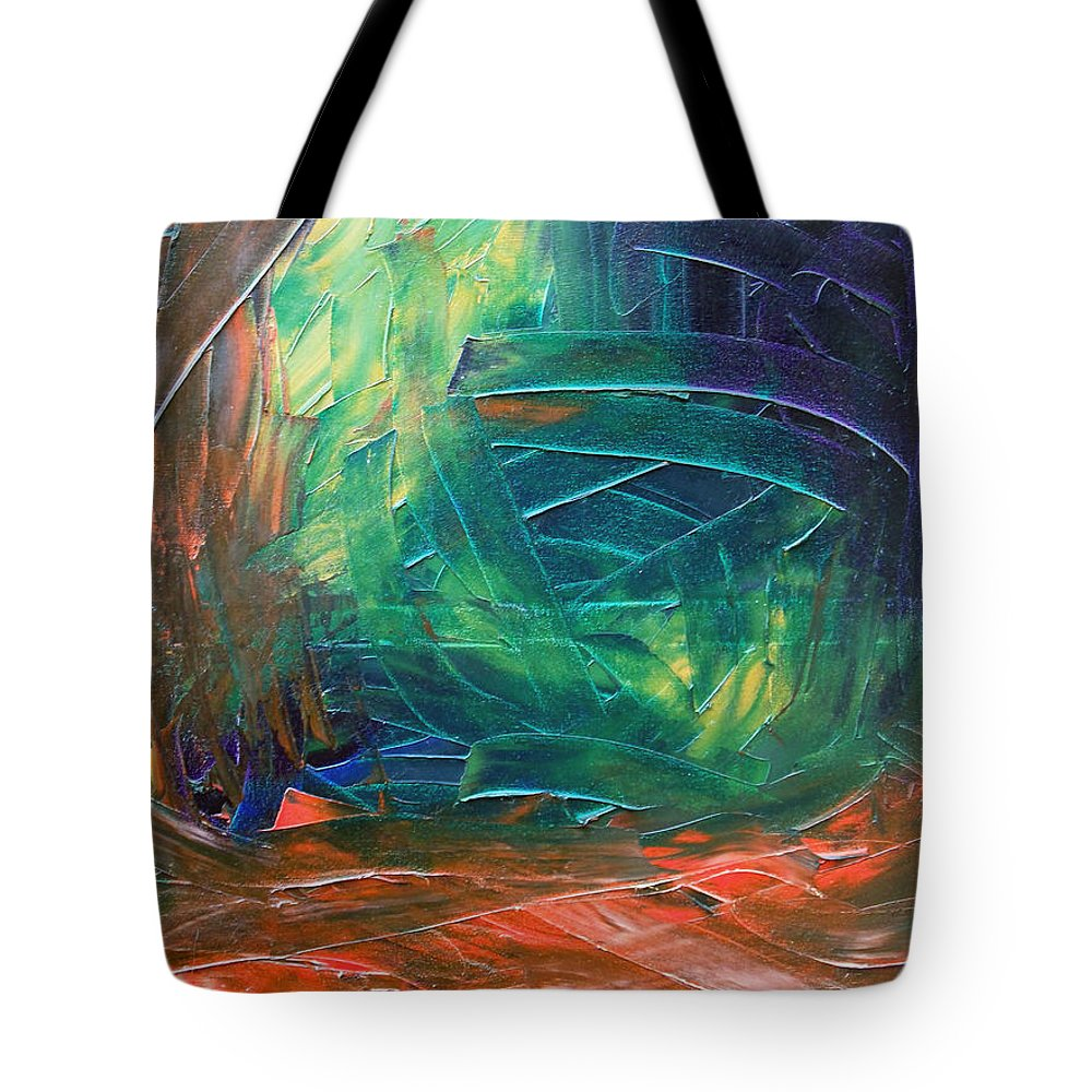 Painting Tote Bag featuring the painting Forest.Part3 by Sergey Bezhinets