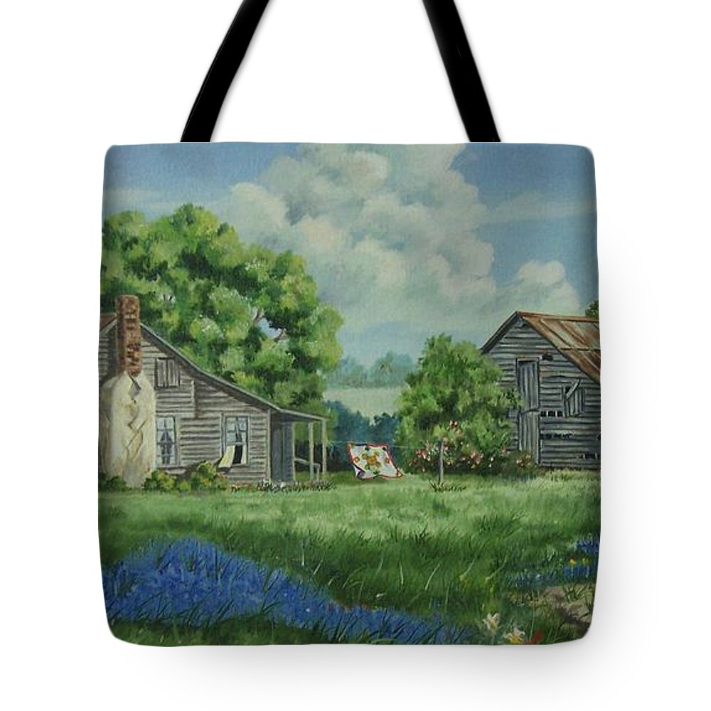 Landscape Tote Bag featuring the painting Forgotten Memories by Wanda Dansereau