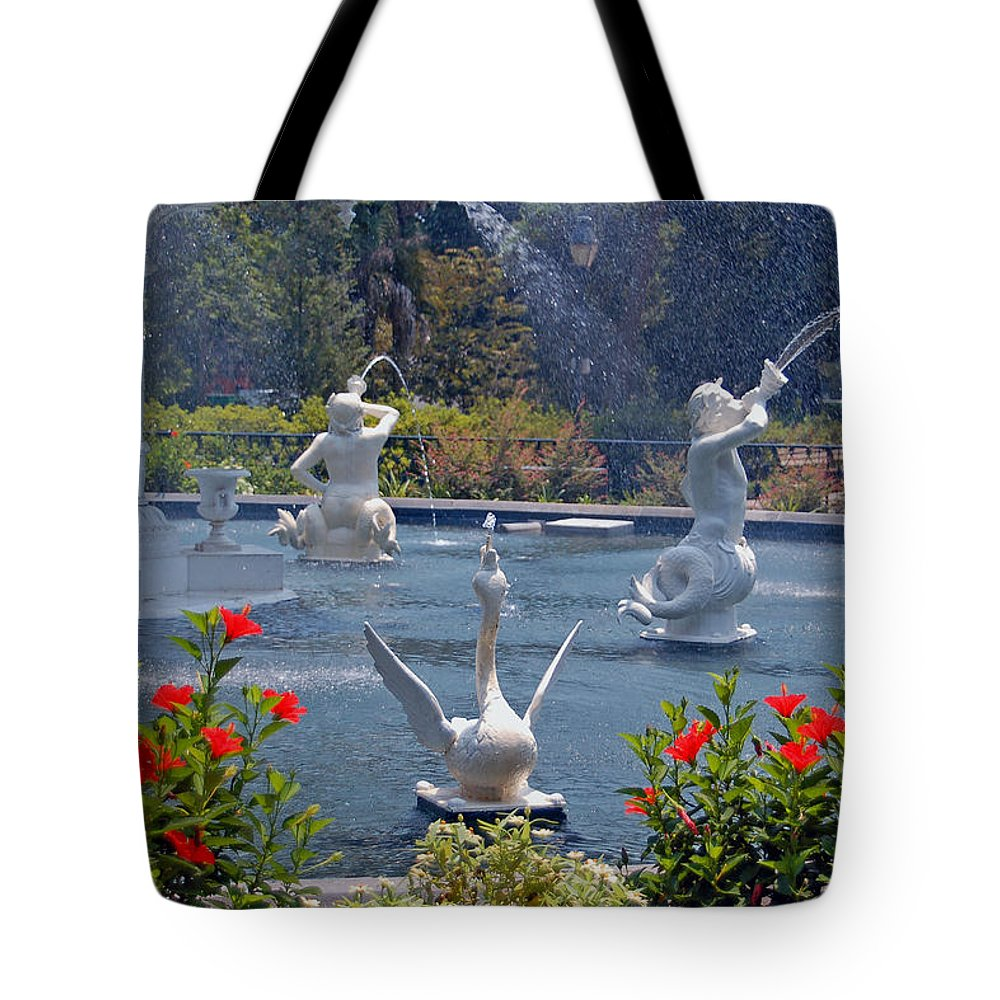 Forsyth Fountain Tote Bag featuring the photograph Forsyth Fountain detail in Savannah GA by Suzanne Gaff