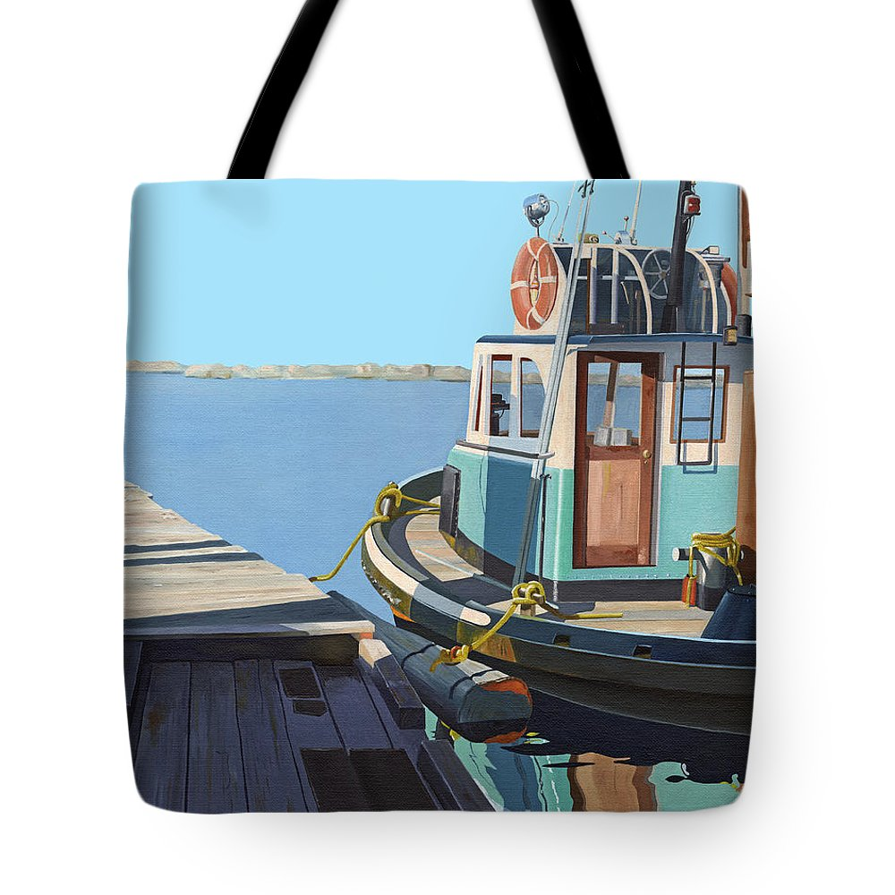 Tug Tote Bag featuring the painting Fraser River tug by Gary Giacomelli