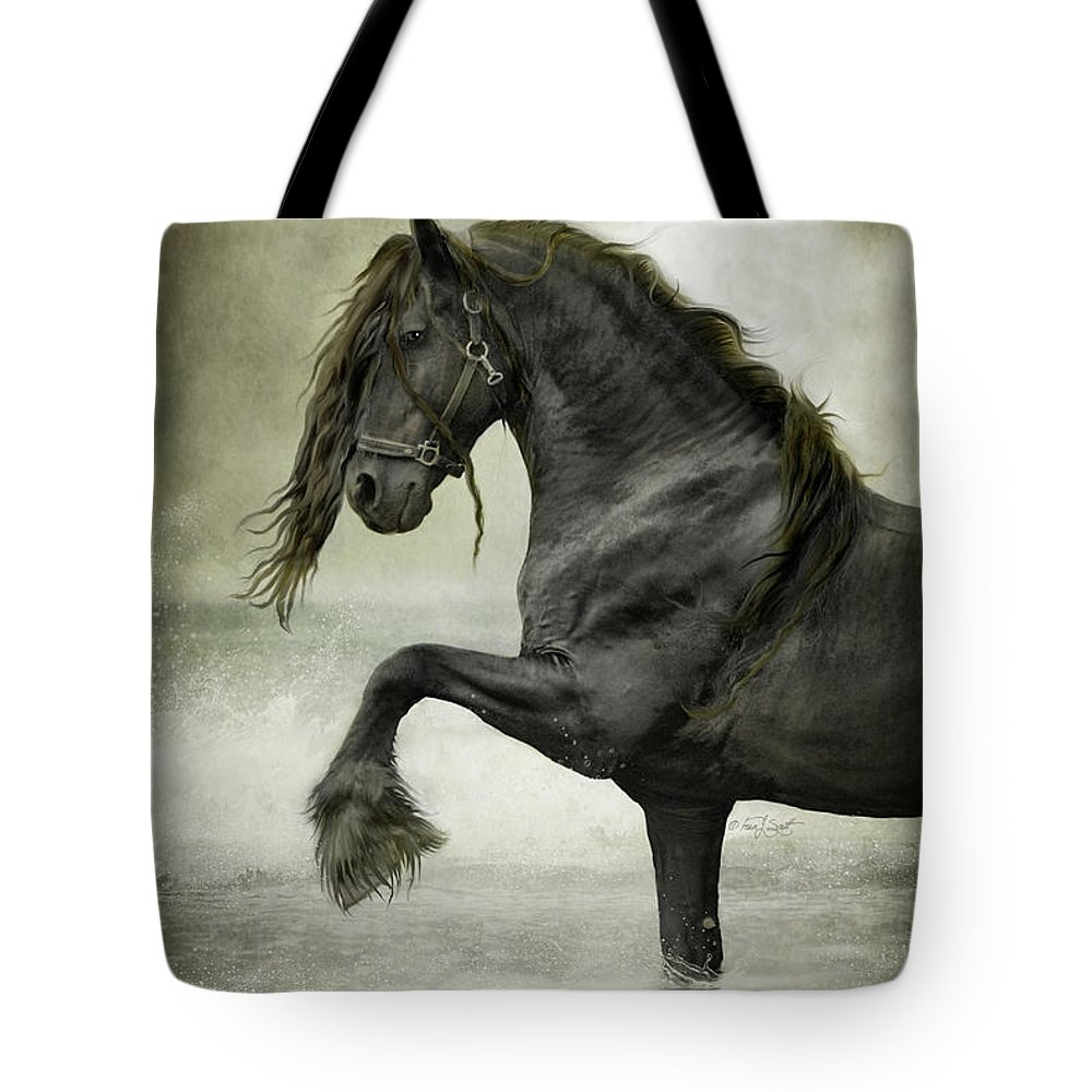 Friesian Tote Bag featuring the digital art Friesian Surf 1 by Fran J Scott