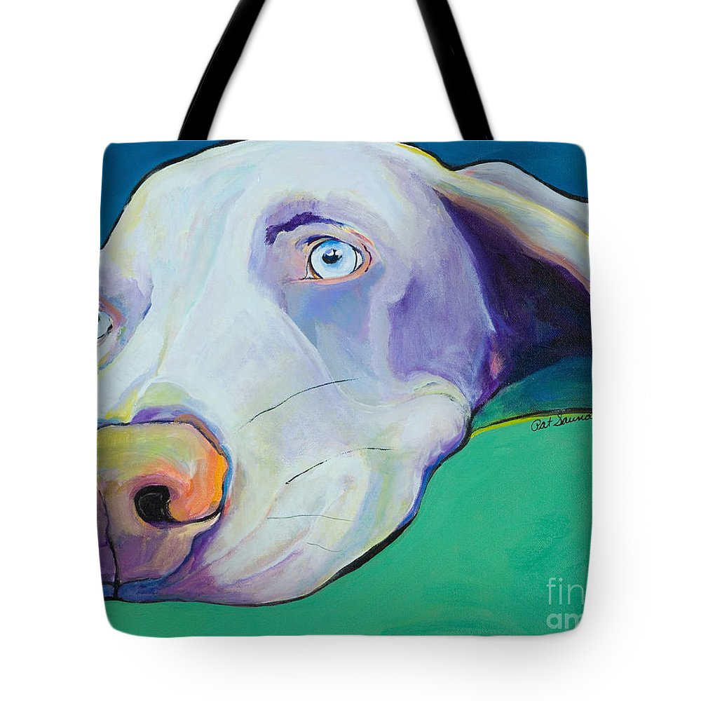 Pat Saunders-white Tote Bag featuring the painting Fritz by Pat Saunders-White