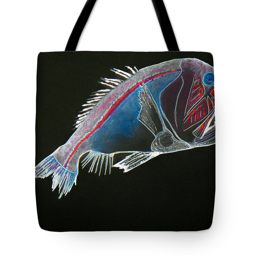 Fossil Tote Bag featuring the drawing From The Abyss by Sergey Bezhinets