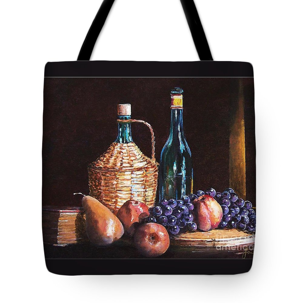 Still Life Tote Bag featuring the painting Fruits by Sinisa Saratlic