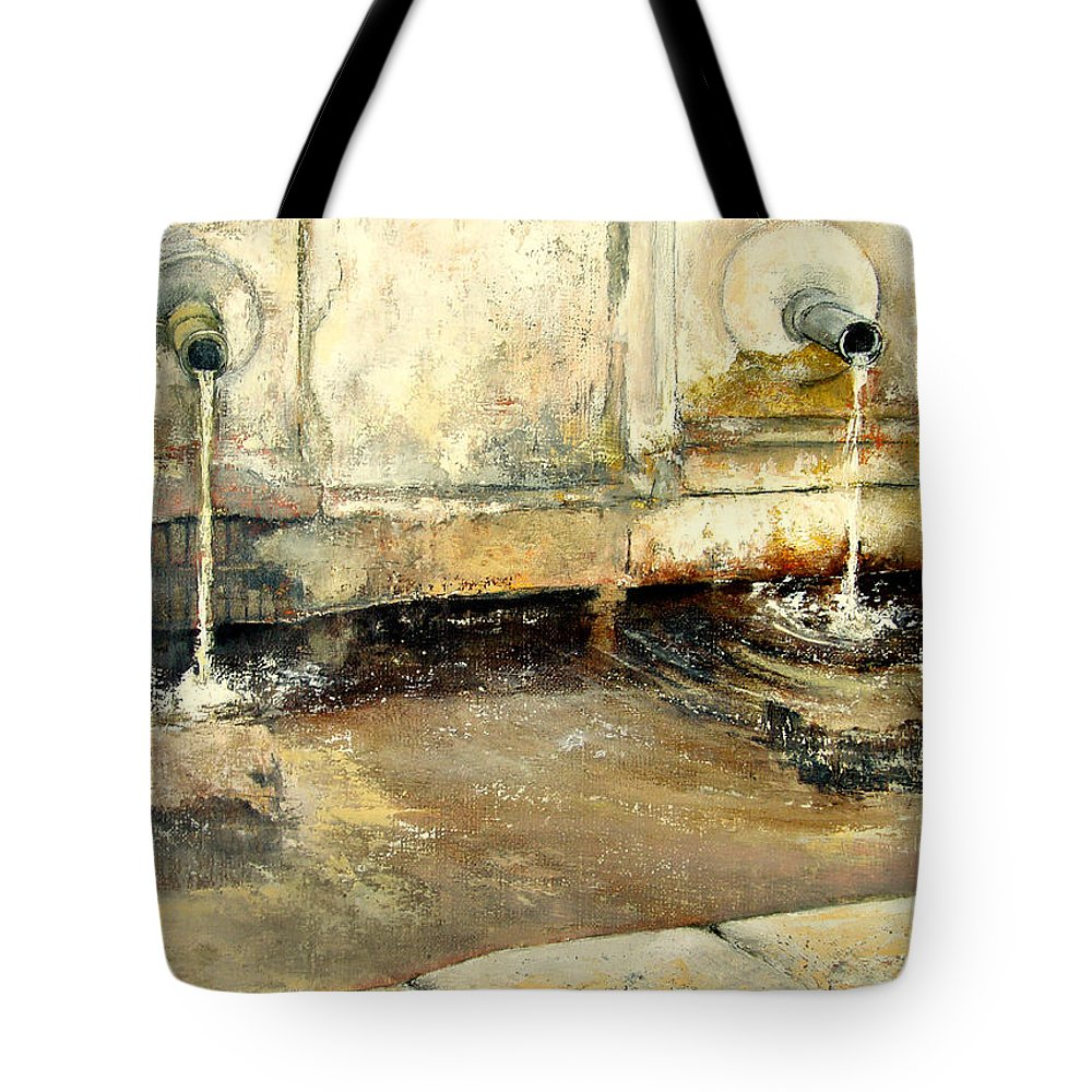 Fuente Tote Bag featuring the painting Fuente by Tomas Castano