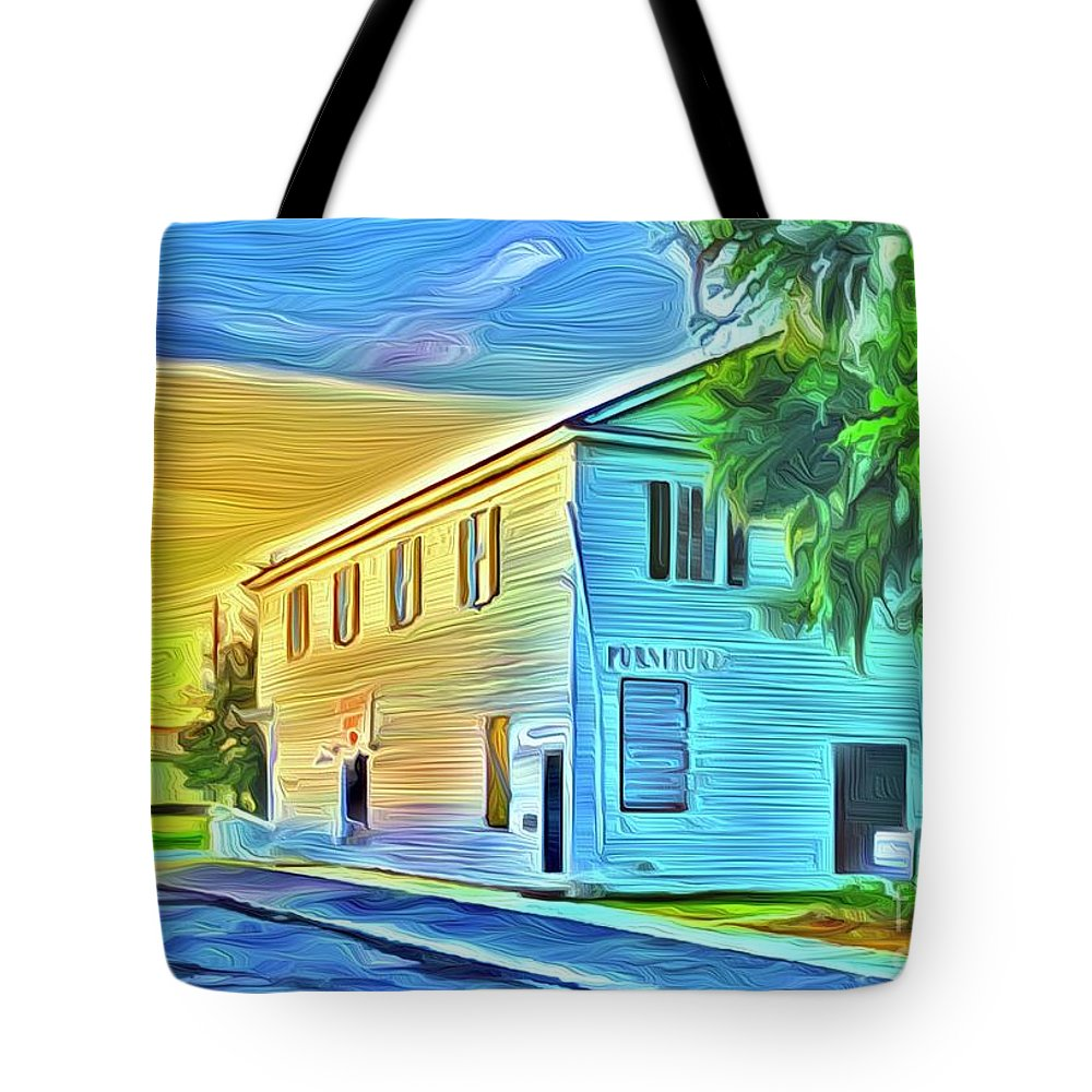 Landscape Tote Bag featuring the digital art Furniture by Michael Stothard