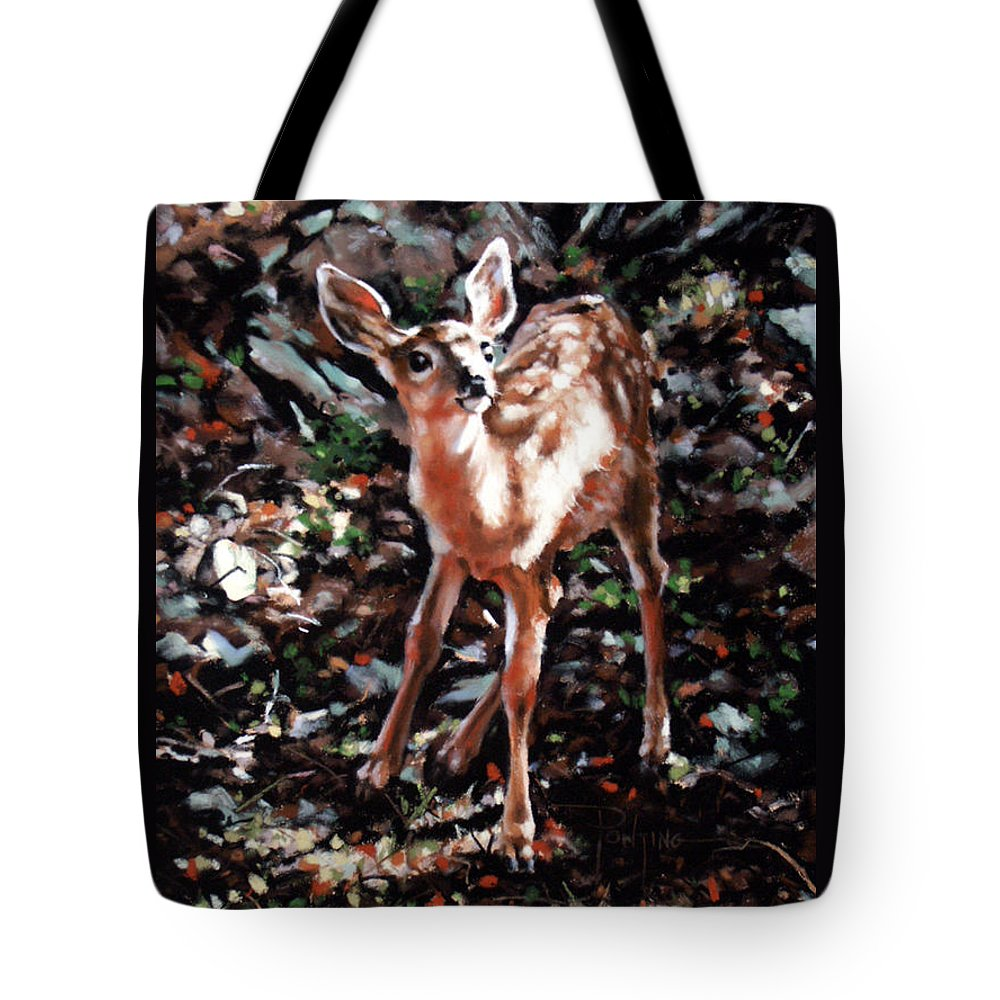 Deer Tote Bag featuring the painting Garden Ornament by Dianna Ponting