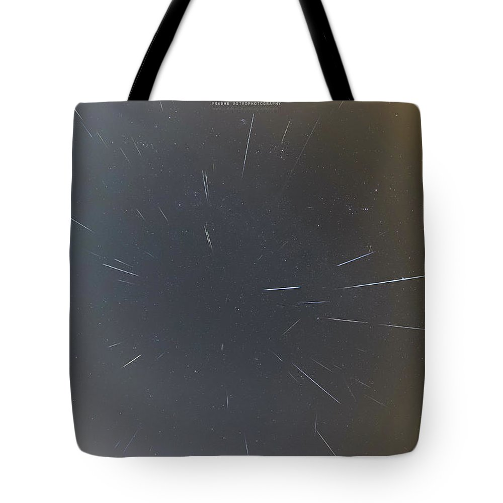 Tote Bag featuring the photograph Geminids Meteor Shower 2020 by Prabhu Astrophotography