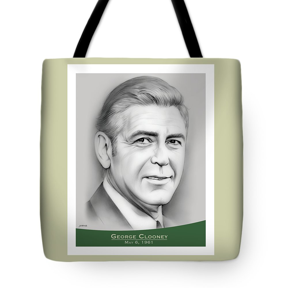 George Clooney Tote Bag featuring the drawing George Clooney birthday by Greg Joens