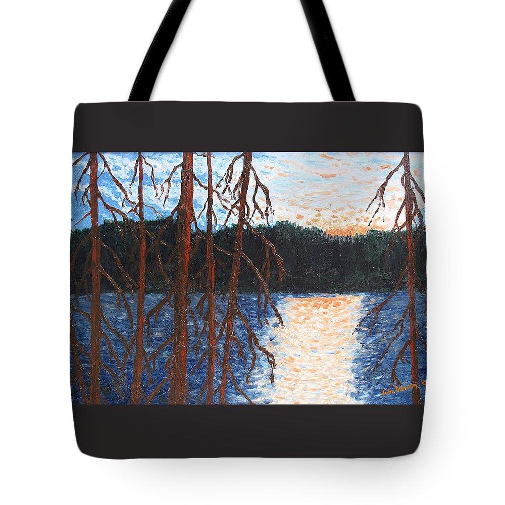 Setting Sun Tote Bag featuring the painting Georgian Bay Ghosts by Ian MacDonald