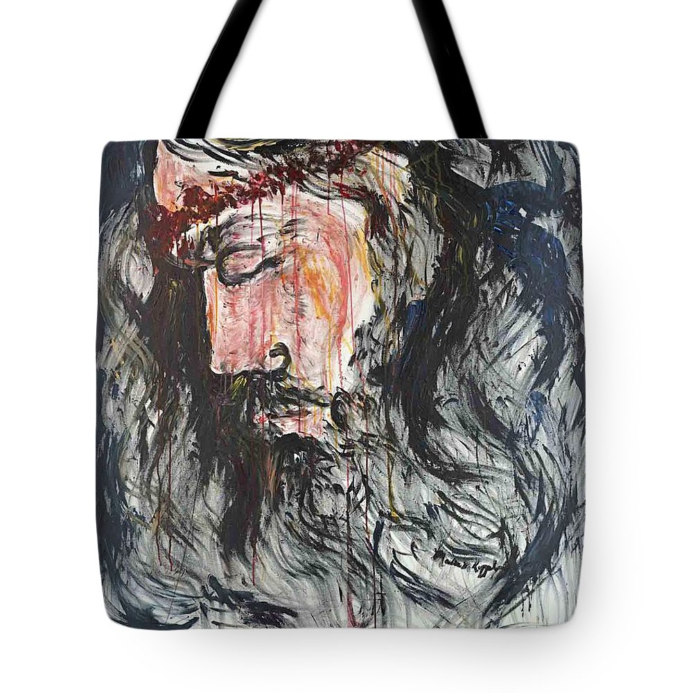 Jesus Tote Bag featuring the painting Gethsemane to Golgotha by Nadine Rippelmeyer