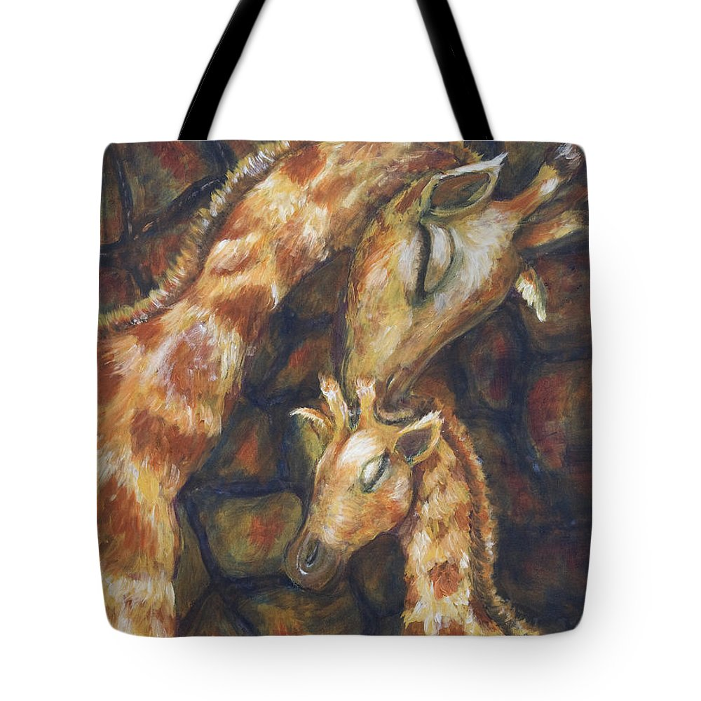 Giraffe Tote Bag featuring the painting Giraffe I by Nik Helbig