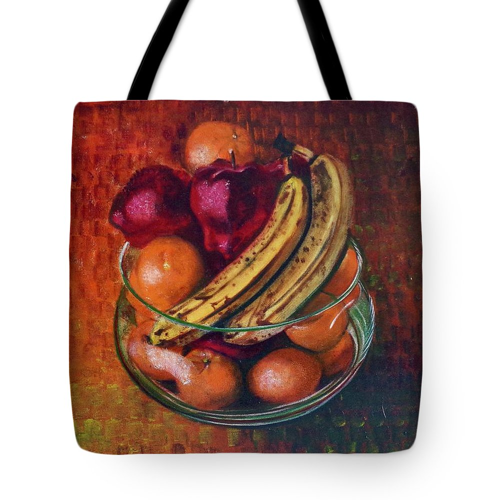 Oil Painting On Canvas Tote Bag featuring the painting Glass Bowl Of Fruit by Sean Connolly