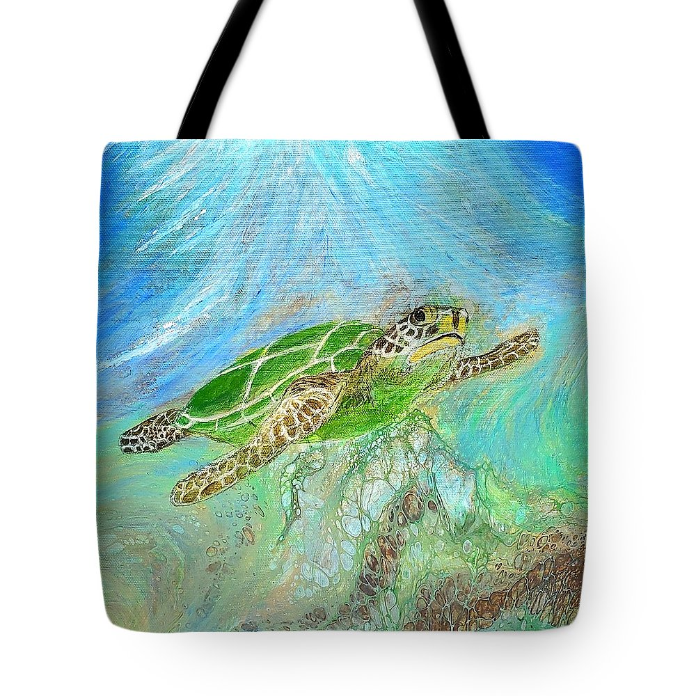 Turtle Tote Bag featuring the painting Go With The Flow by Suzy Combs