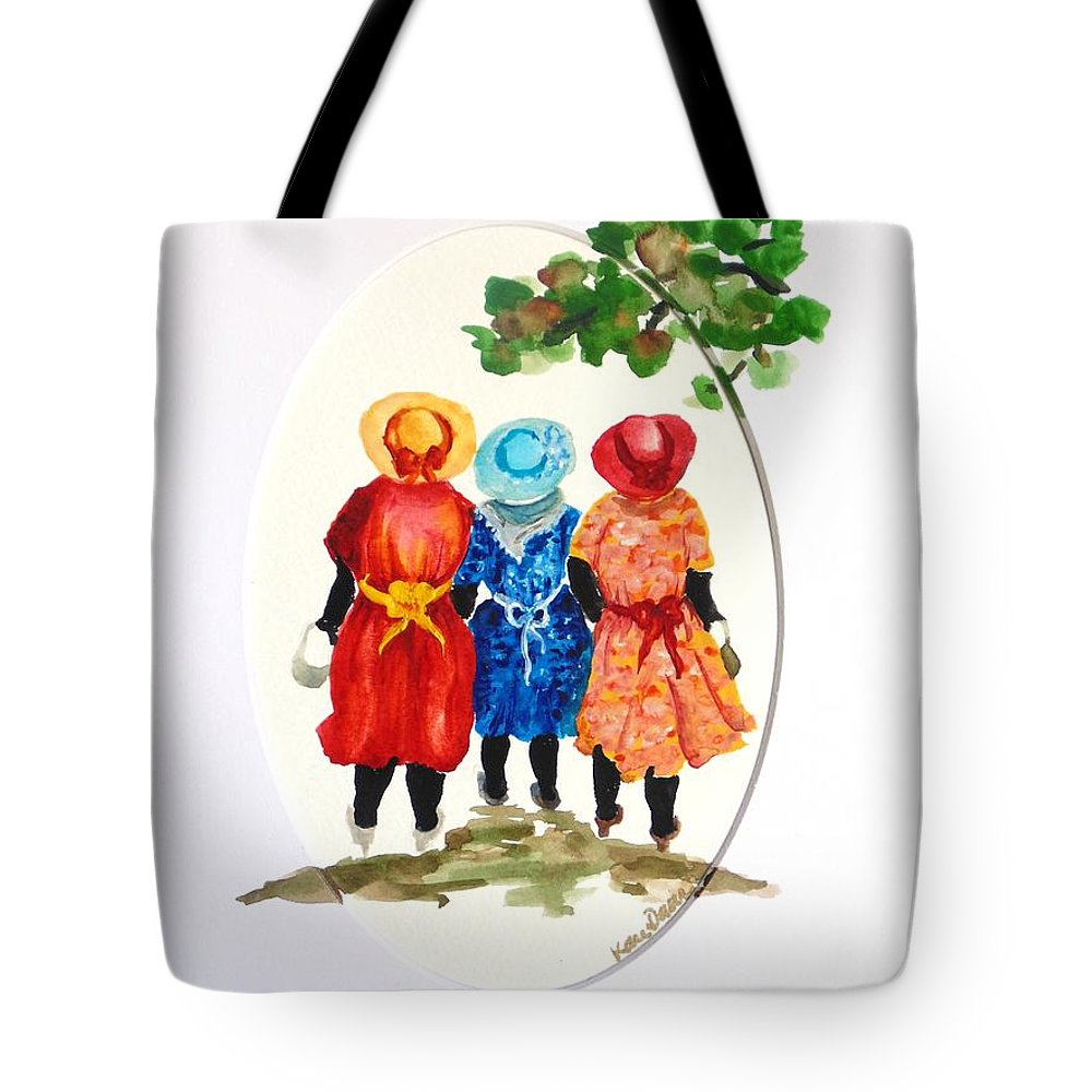 Three Women Caribbean Tote Bag featuring the painting Going to church by Karin Dawn Kelshall- Best