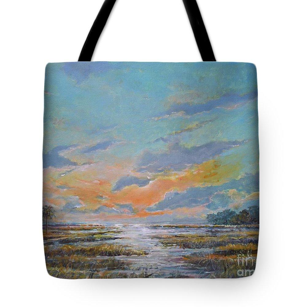 Florida Marshland Painting Tote Bag featuring the painting Golden Florida Dusk by Sinisa Saratlic