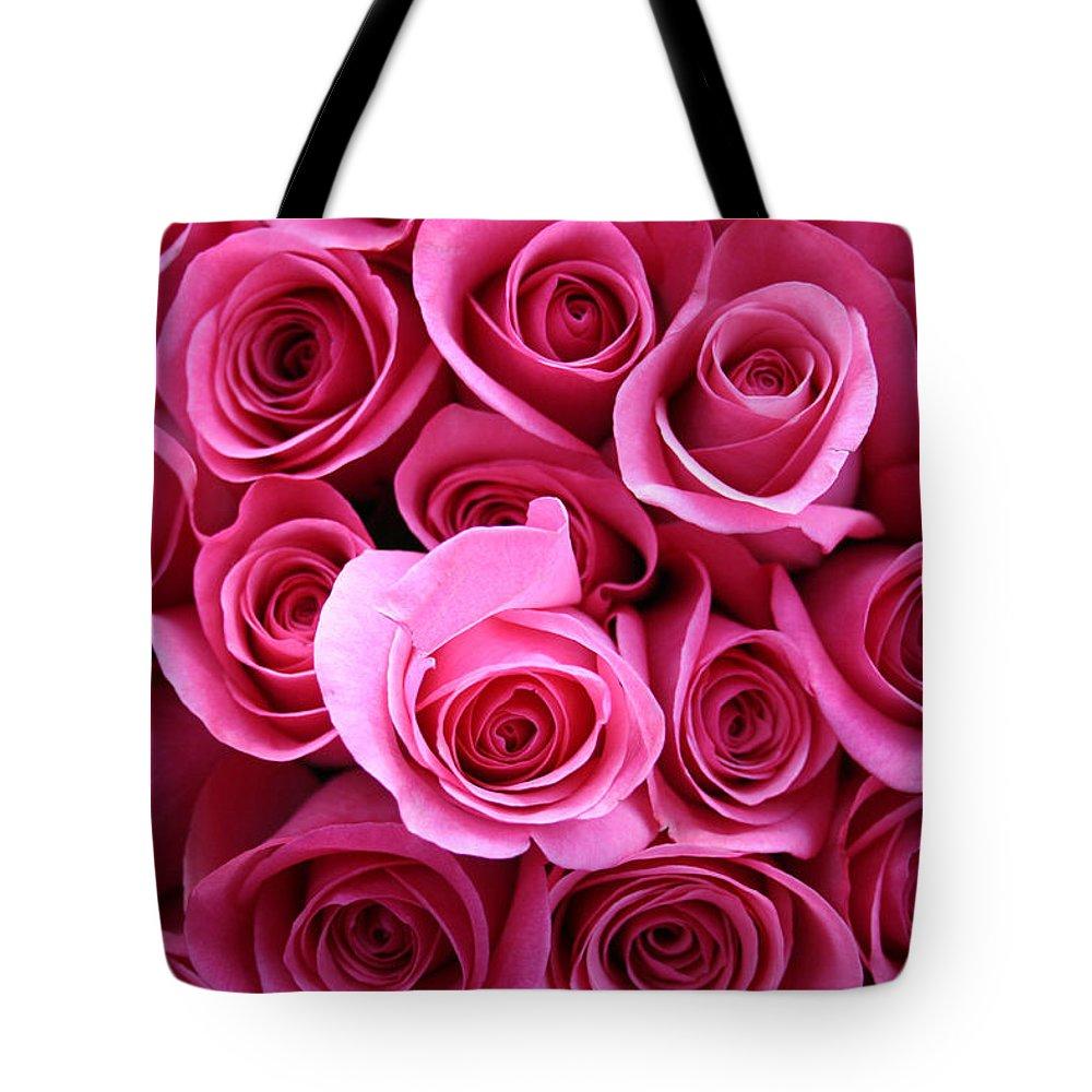 Pink Roses Tote Bag featuring the photograph Grandma Roses by Linda Sannuti
