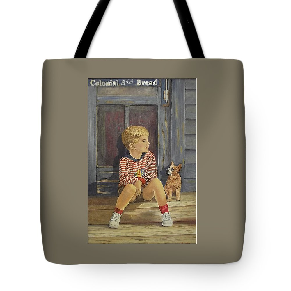 A Young Boy And His Dog Tote Bag featuring the painting Grandpas Country Store by Wanda Dansereau