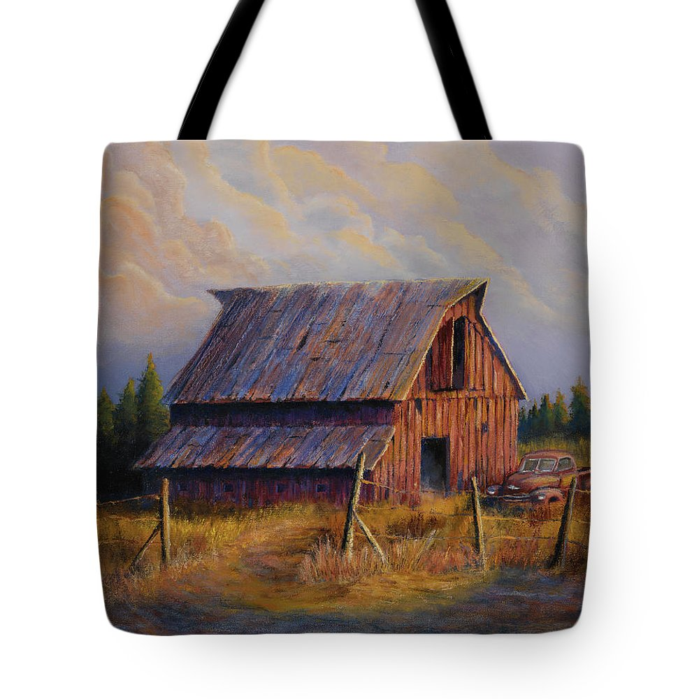 Barn Tote Bag featuring the painting Grandpas Truck by Jerry McElroy