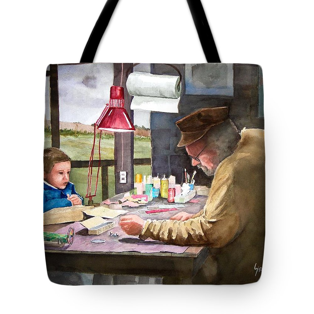 Man Tote Bag featuring the painting Grandpa's Workbench by Sam Sidders