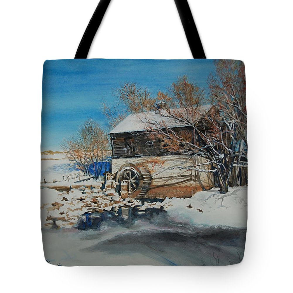 Mill Tote Bag featuring the painting Grants Old Mill by Susan Moore