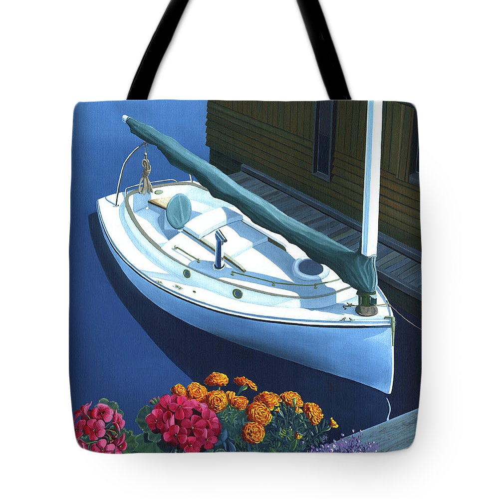Seascape Tote Bag featuring the painting Granville Island Catboat by Gary Giacomelli