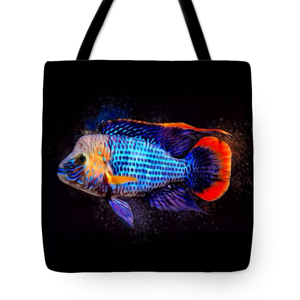 Green Terror Tote Bag featuring the digital art Green Terror Cichlid Fish by Scott Wallace Digital Designs