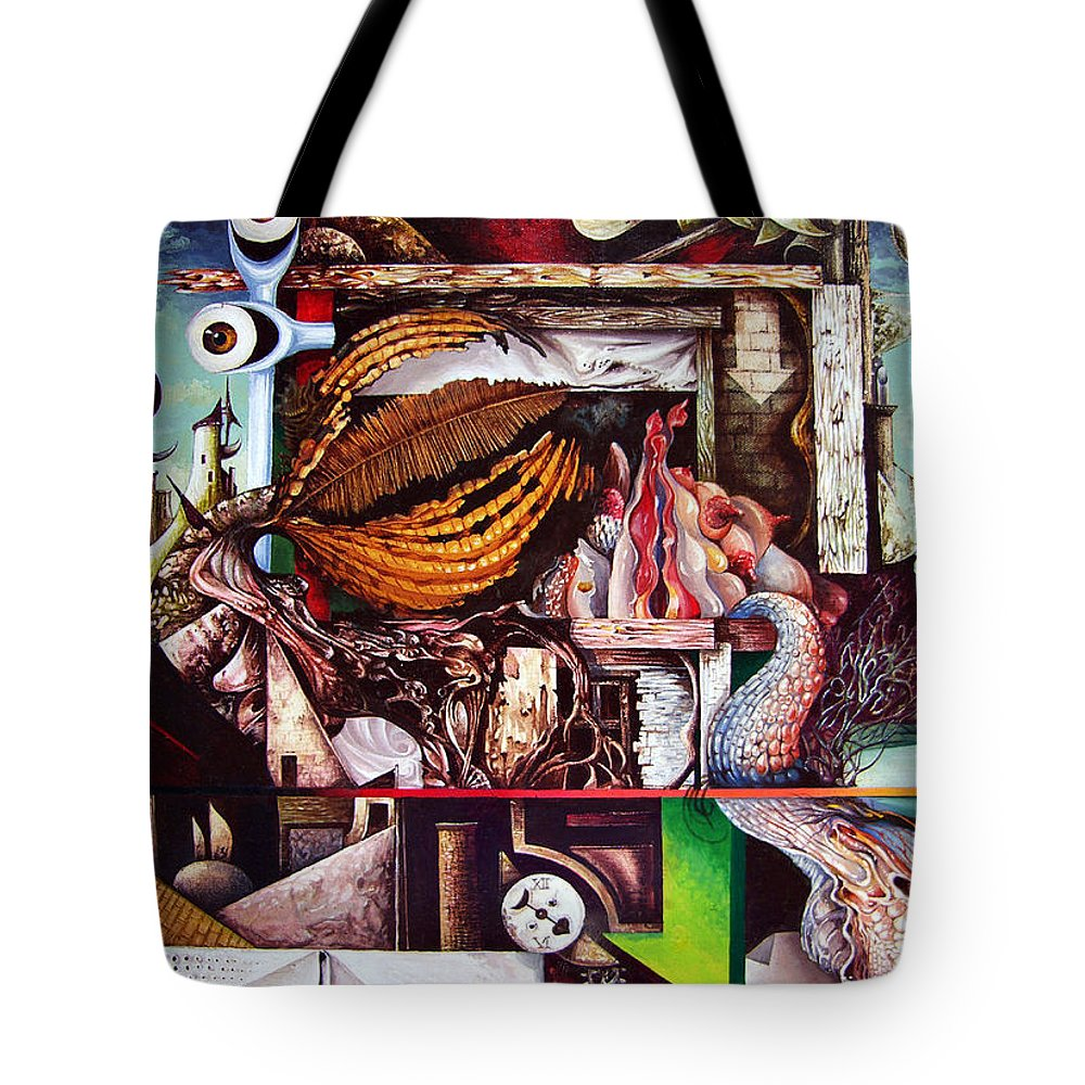 Surrealism Tote Bag featuring the painting Grey Day At The Factory by Otto Rapp