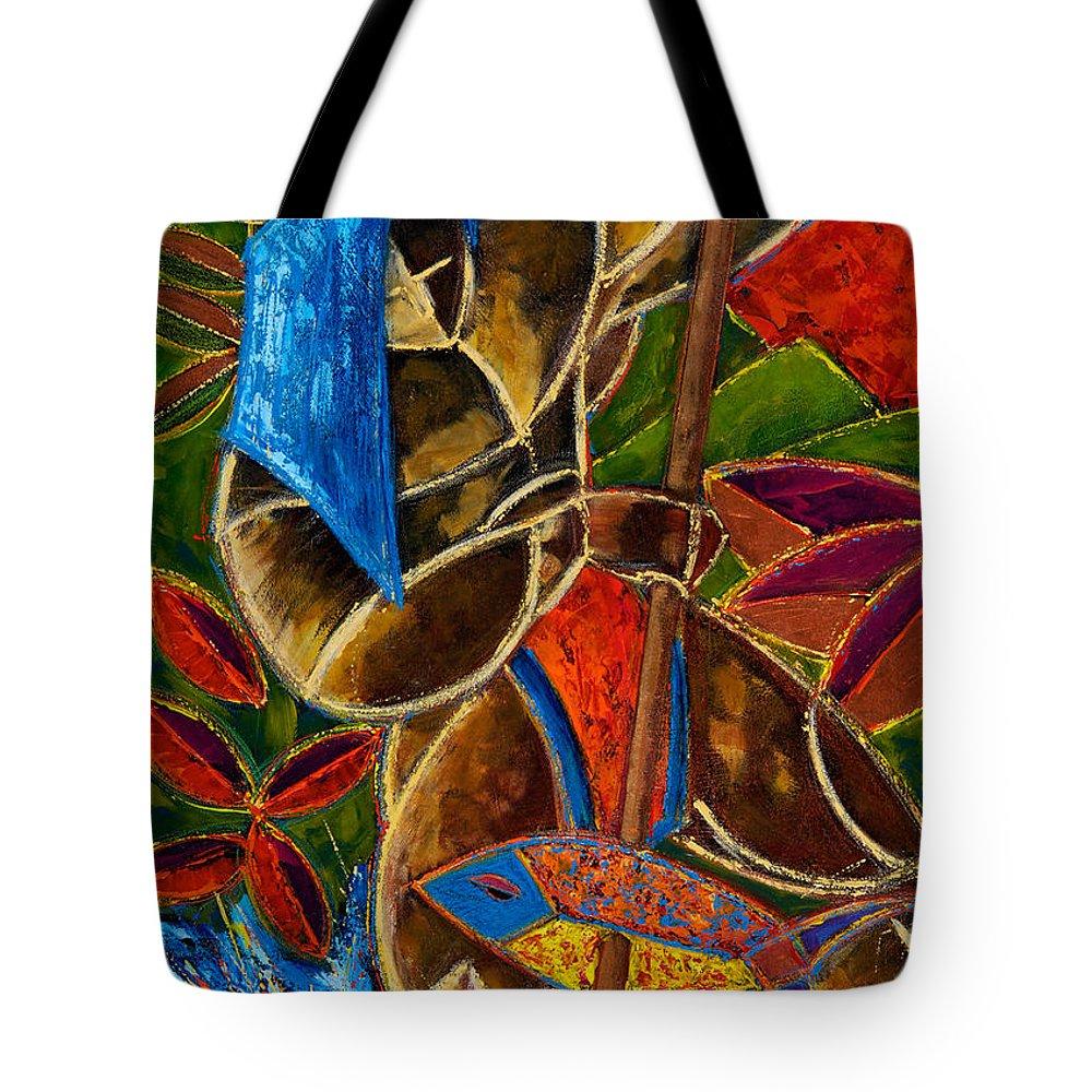 Puerto Rico Tote Bag featuring the painting Guarani... hombre de familia by Oscar Ortiz