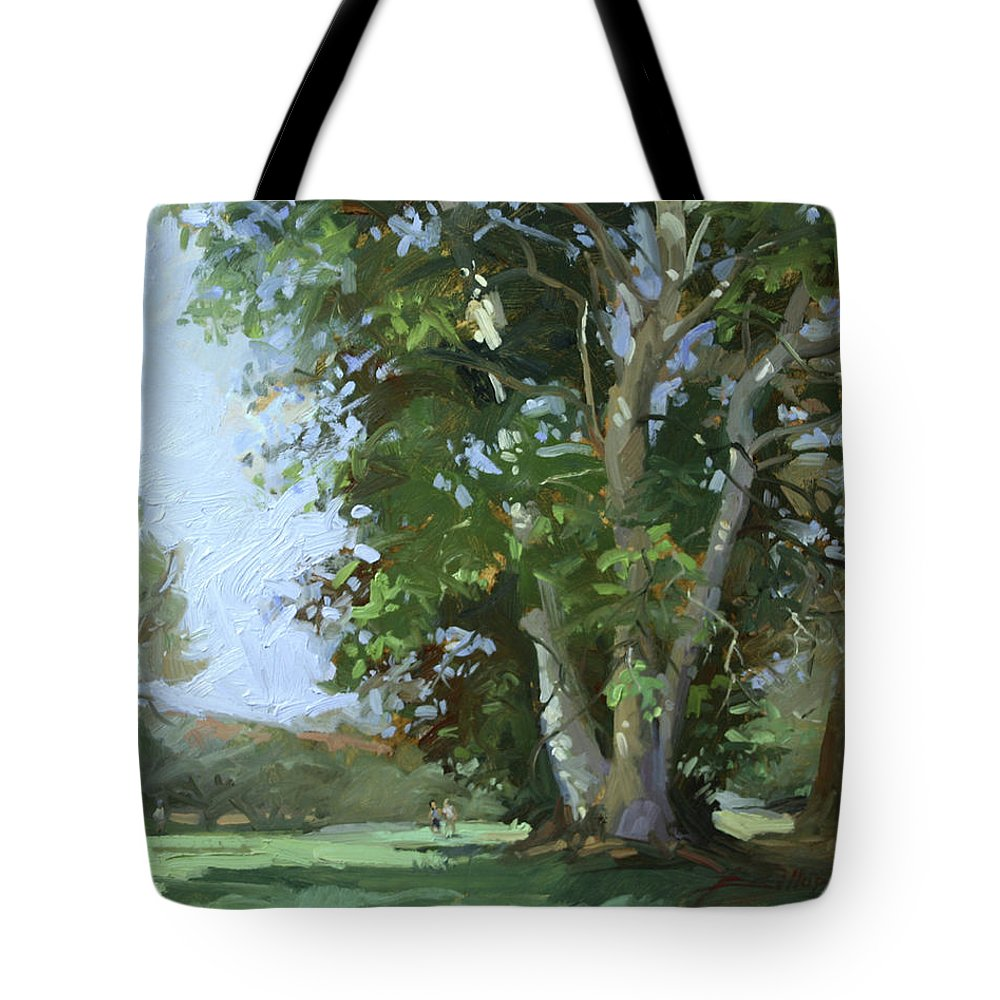 Golf Courses Tote Bag featuring the painting Guardian of the Green by Betty Jean Billups