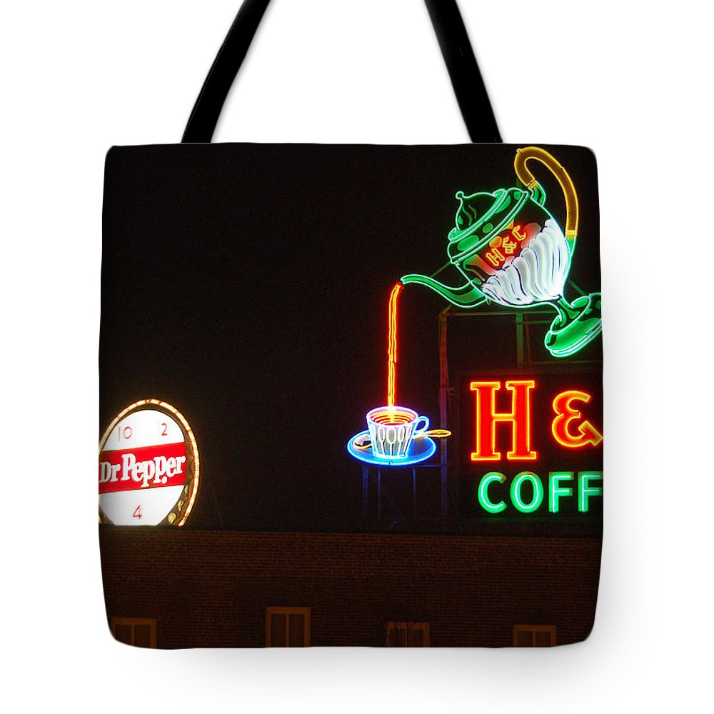H C Coffee Tote Bag featuring the photograph H and C Coffee Sign Roanoke Virginia by Suzanne Gaff