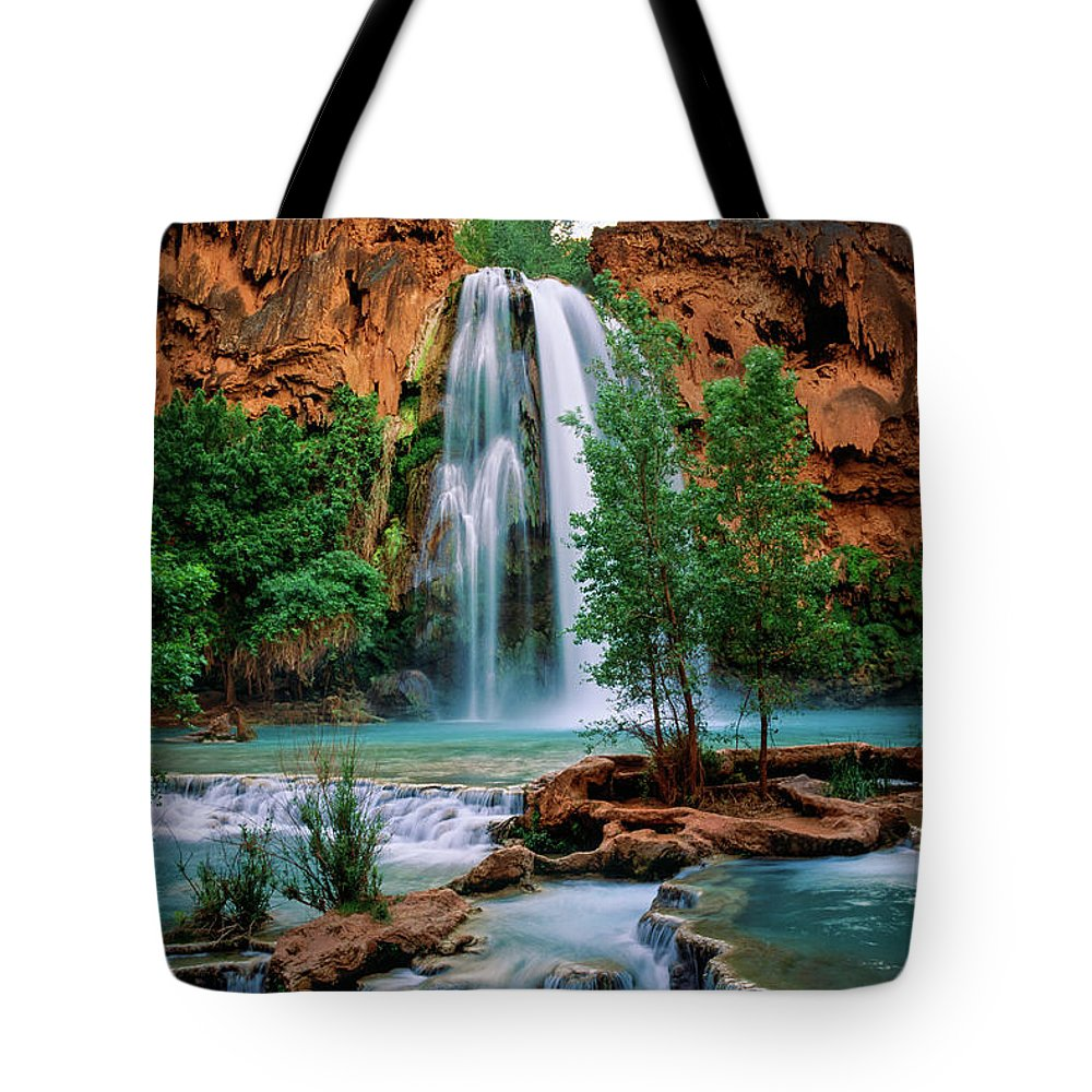 America Tote Bag featuring the photograph Havasu Cascades by Inge Johnsson