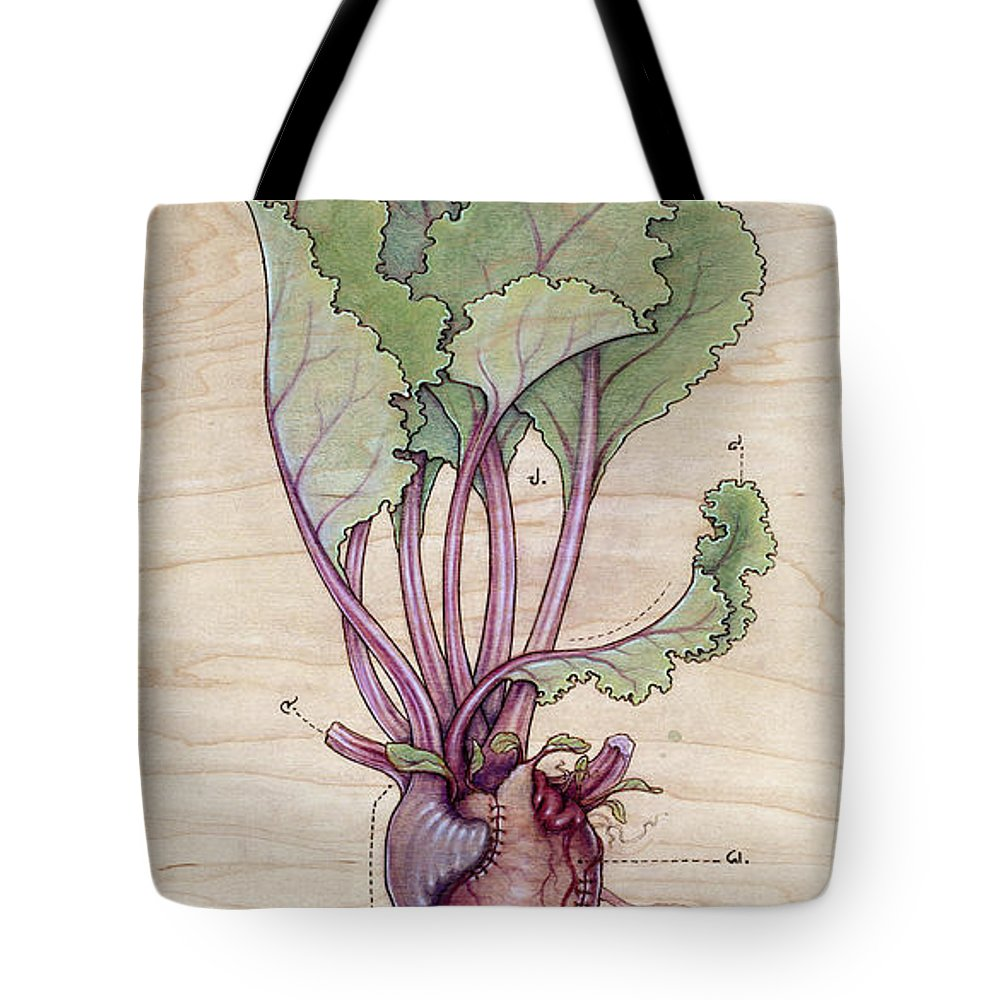 Heart Tote Bag featuring the pyrography Heart Beet by Fay Helfer