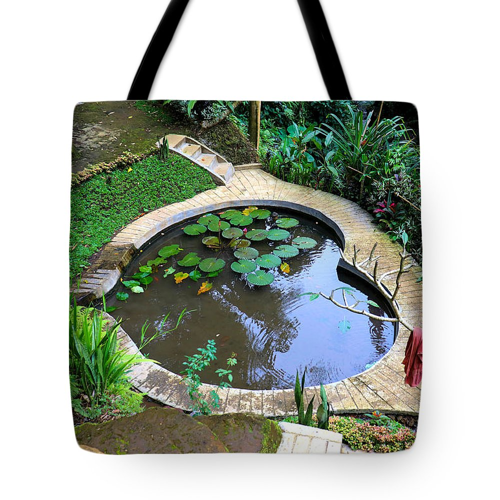 Heart Tote Bag featuring the digital art Heart-shaped pond with water lilies by Worldvibes1