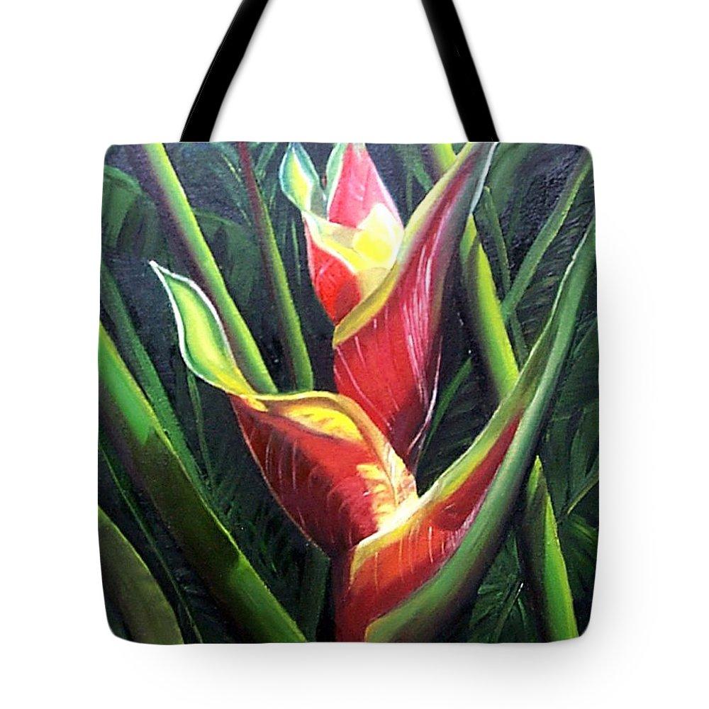 Tropical Floral Flower Heliconia Caribbean Painting Tropical Painting Botanical Painting Tote Bag featuring the painting Heliconia by Karin Dawn Kelshall- Best