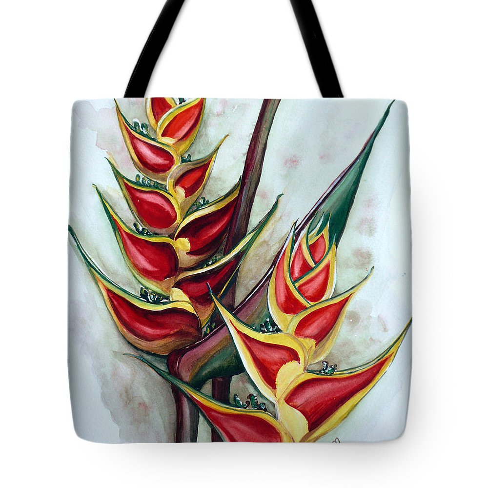 Caribbean Painting Flower Painting Floral Painting Heliconia Painting Original Watercolor Painting Of Heliconia Bloom  Trinidad And Tobago Painting Botanical Painting Tote Bag featuring the painting Heliconia Tropicana Trinidad by Karin Dawn Kelshall- Best