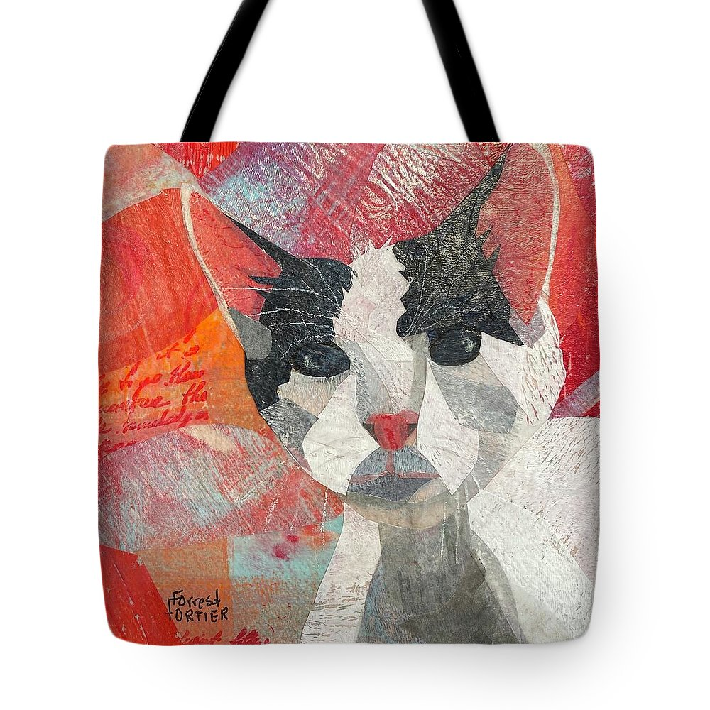 Cat Tote Bag featuring the mixed media Hello There by Forrest Fortier