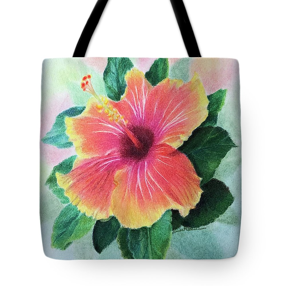 Chinese Hibiscus Tote Bag featuring the drawing Chinese Hibiscus by Elaine Rittler