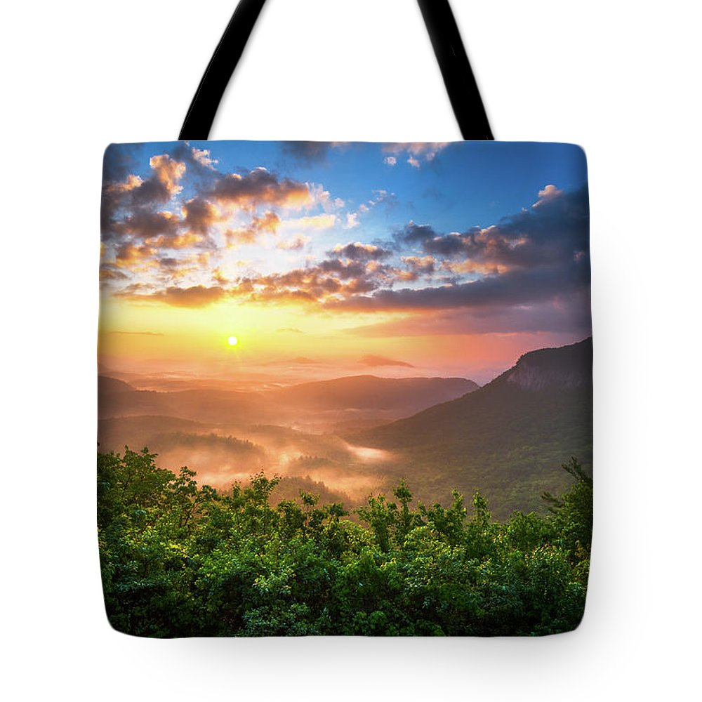 Sunset Tote Bag featuring the photograph Highlands Sunrise - Whitesides Mountain in Highlands NC by Dave Allen