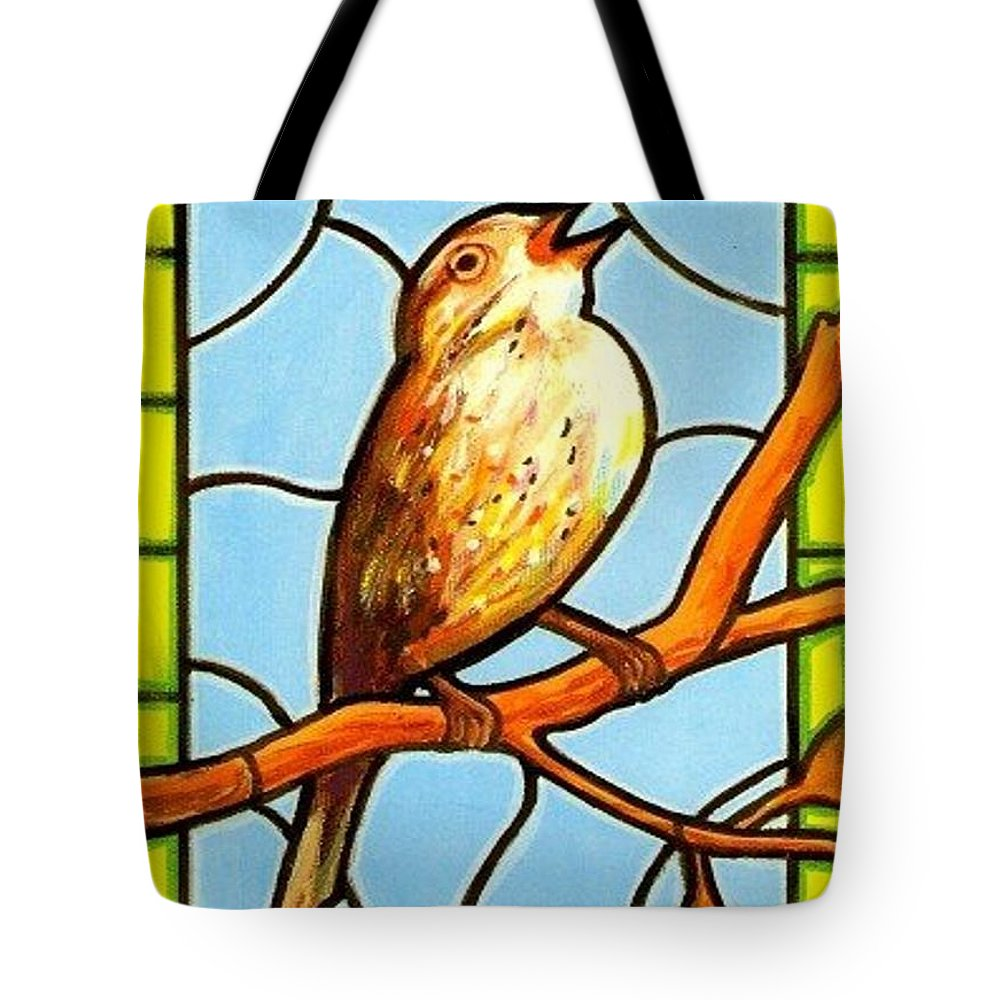 Birds Tote Bag featuring the painting His Eye Is On the Sparrow by Jim Harris